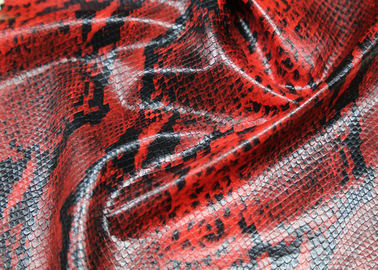 China Red Snake Skin Printed PU Artificial Leather , 0.4 Mm Thickness Premium PU Leather supplier