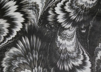 China High Grade Printed PU Leather Black And White Peacock Feather Pattern No Fading supplier