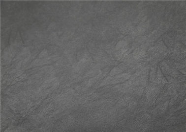 China Custom Premium PU Leather , 0.55 Mm Grey Faux Leather Fabric High Elasticity supplier