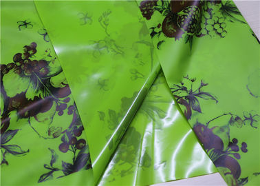 China Green Fruits Printed Fake Leather Fabric , Tablecloth Printed Leather Fabric supplier