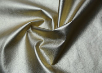 China Gold Pearlied Polyurethane Faux Leather , Custom Synthetic Leather Fabric supplier