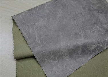 China Waterproof PU Faux Leather , Grey Printed And Embossed Artificial Leather Fabric supplier