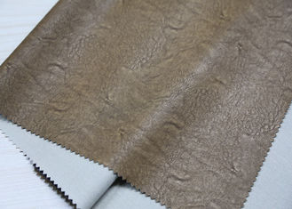 China Light Brown Twotone Embossed Leather Fabric , Embossed PU Coated Leather supplier
