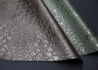 China Brown Faux Leather Fabric , Embossed Brown PU Leather For Bagsgarment Wallet supplier