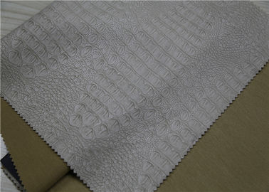 China Durable Embossed Leather Fabric , Beige PU Coated Leather No Fading supplier