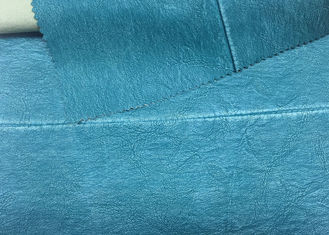 China 330 Gsm Blue PU Washed Leather 100% Rayon Backing For Garment 0.60 Mm Thickness supplier