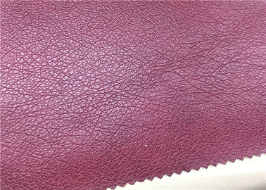 China Custom PU Sofa Leather Fabric Dark Red Printed Brasion Resistant No Fading supplier