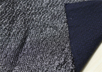 China Shinine Black PU Bonded Leather Fabric With Backing Bonded Knitted Fancy Yarn supplier