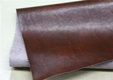 China Embossed PVC Synthetic Leather Coffee Twotone Color Folding Resistance supplier