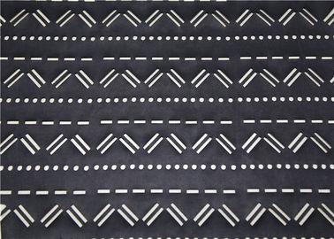 China Perforated Black Leather Fabric Mustache Design , Punched Synthetic Leather Fabric supplier