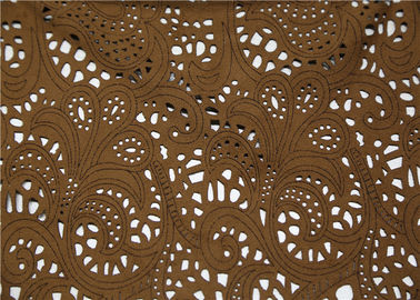 China 0.45 Mm Perforated Leather Fabric , Brown Suede Perforated Leather Material supplier