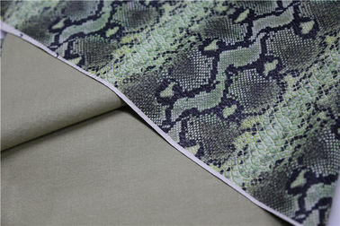 China Snake Skin Design Printed PU Leather 0.6mm Green Color For Jacket , Windbreaker supplier