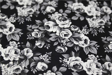 China Black and White Camellia Flower  Printed PU Leather With 100% Viscose Backing Fabric supplier