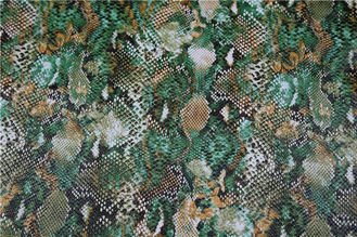 China Green Color Printed PU Leather Snake Skin Design OEKO-100 Standard supplier