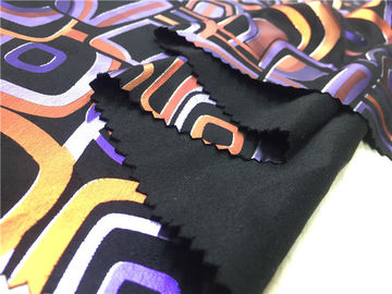 China Digital Print Lamination On Garment Leather Fabric 0.65mm Backing With Suede Fabric supplier