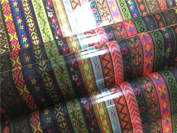 China 0.15mm Thickness Ethnic Style Printed TPU Leather Anti Mildew For Coats / Bags supplier