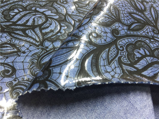 China Blue Tpu Leather Bonded With Printed Black Flowers Customized Width supplier