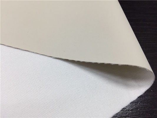 China Light Grey Color 0.45mm Pu Synthetic Leather Waterborne Pu Polyester Backing Fabric supplier