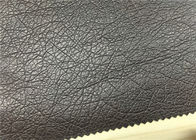 China PU Coated Faux Leatherette Fabric , Dark Brown Synthetic Leather Fabric factory