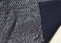 China Shinine Black PU Bonded Leather Fabric With Backing Bonded Knitted Fancy Yarn factory