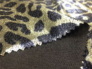China Gold Leopard Suede Fabric / Imitation Leather Fabric 0.35mm Thickness factory
