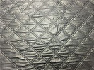 China Wadded Clothes 1.2mm Quilted Bonded Leather Fabric With Polyester Cotton Surface Silver Color factory
