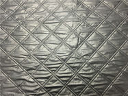 Wadded Clothes 1.2mm Quilted Bonded Leather Fabric With Polyester Cotton Surface Silver Color