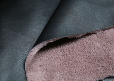 Coat / Boots Bonded Leather Fabric Black Surface With Pink Backing Faux Fur