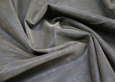 0.60 Mm Brown Flocking Leather PU + Polyester Composition For Clothing Fabric