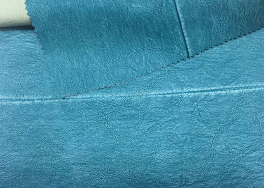 330 Gsm Blue PU Washed Leather 100% Rayon Backing For Garment 0.60 Mm Thickness