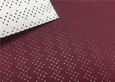Punched  Wine Red Car Leather Fabric Hydrolysis Resistance Anti - Aging