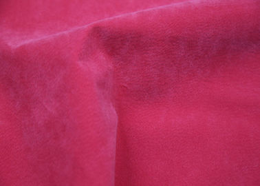 Pig Grain Flocking Leather Red Color 100% Viscose Backing For Ladies Apparel