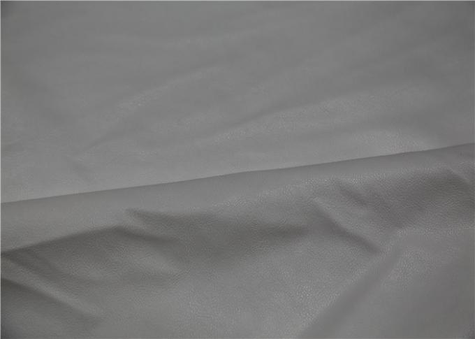 0.6 Mm White Pu Pvc Leather , Knitted Fabric Backing Polyester Faux Leather