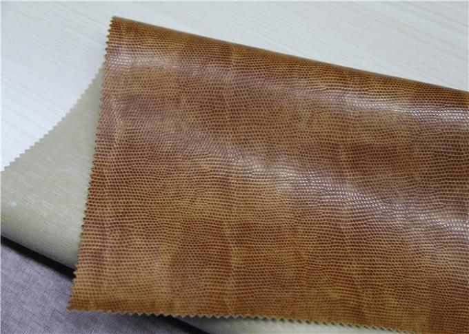 Brown Faux Leather Material , Waterproof Pvc Artificial Leather 330 Gsm