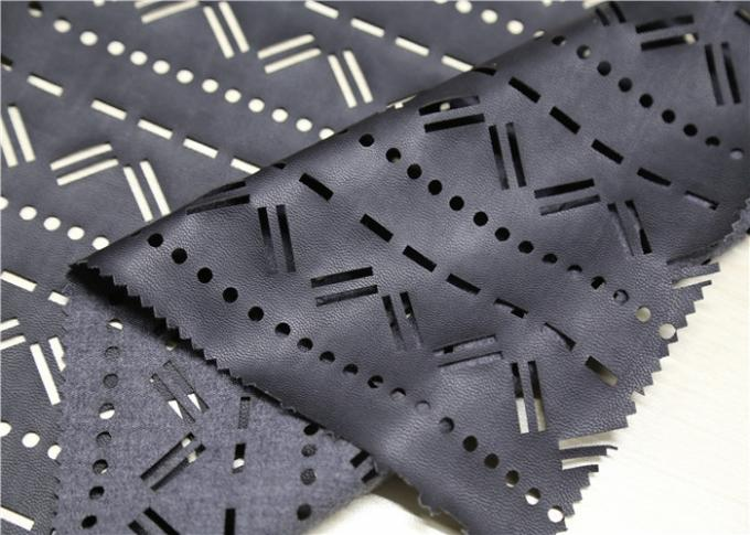 Perforated Black Leather Fabric Mustache Design , Punched Synthetic Leather Fabric