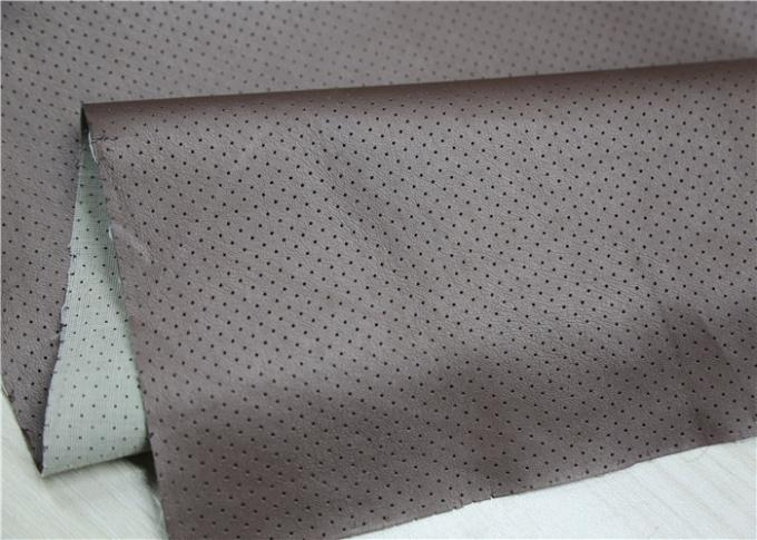 Durable PU Punched Leather 0.55mm Brown Hole Design Normal Peeling Strength