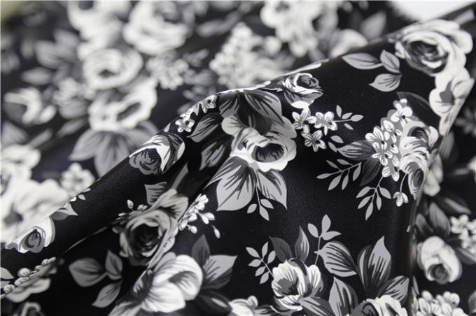Black and White Camellia Flower  Printed PU Leather With 100% Viscose Backing Fabric