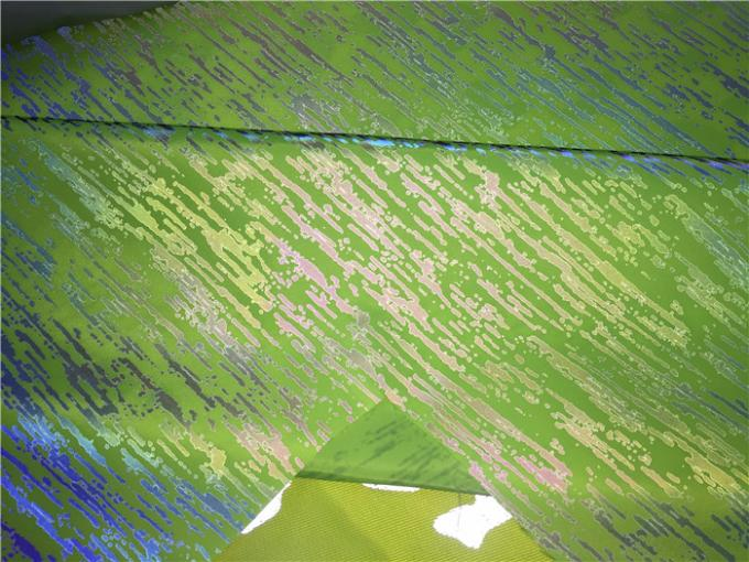 0.2mm Garment Leather Fabric Neon Green Printed With Reflective Effect For Coat Or Jacket