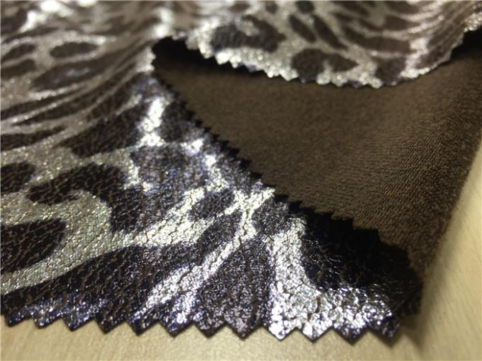 0.35mm Garment Suede leather Fabric With Silver Leopard Lamination