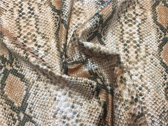 0.6mm Scuba Suede Printed Leather Fabric With Snake Skin Design Plus Lamination Effect