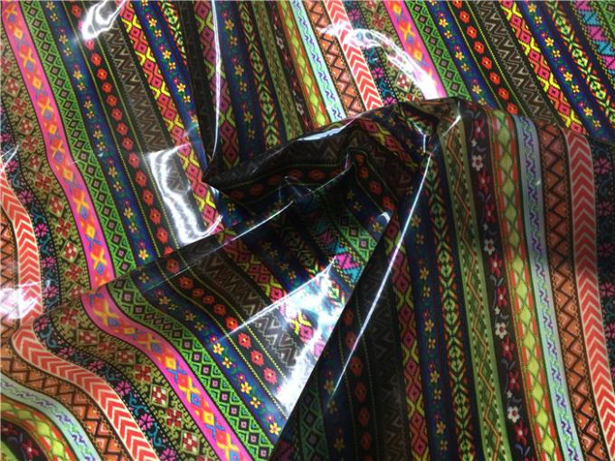 0.15mm Thickness Ethnic Style Printed TPU Leather Anti Mildew For Coats / Bags