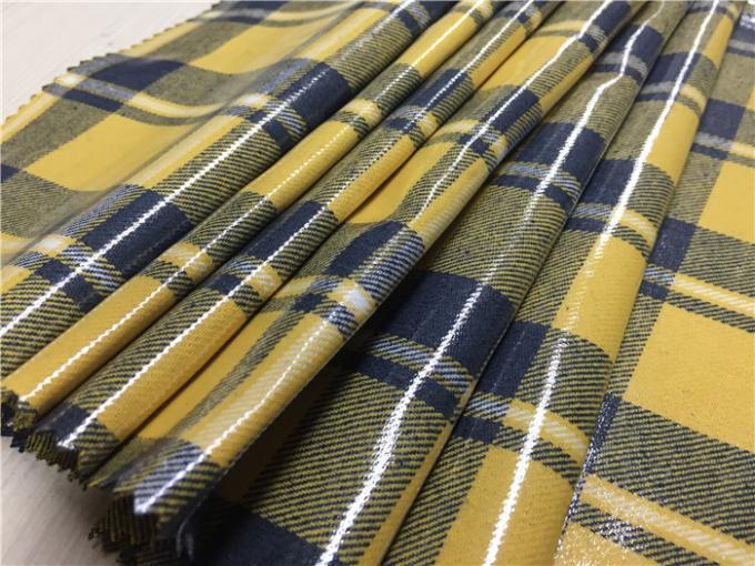 0.70mm Transparent Tpu Leather Compounded With Yellow Blue Grid Yarn Dyed Fabric