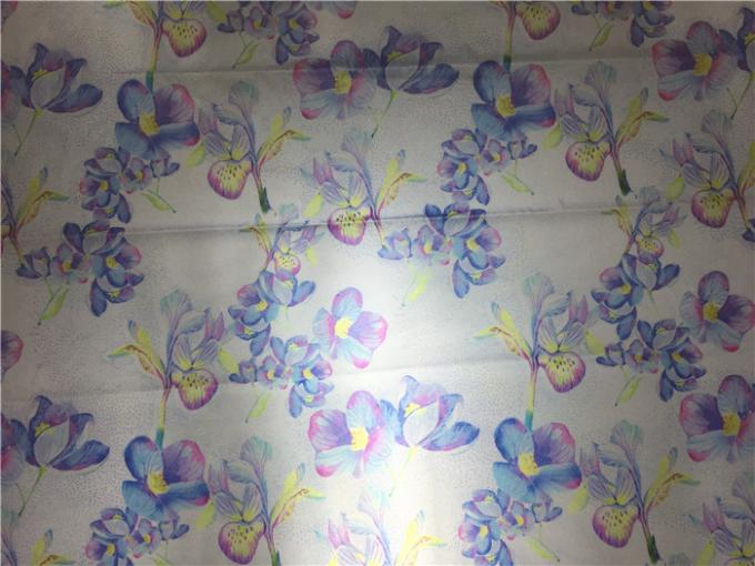 0.15mm Reflective Garment Leather Fabric Printed With Blue Flowers For Outdoor Coat