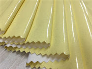 Yellow Color 0.4mm - 0.5mm Pu Synthetic Leather For Ladies Raincoat / Light Jacket